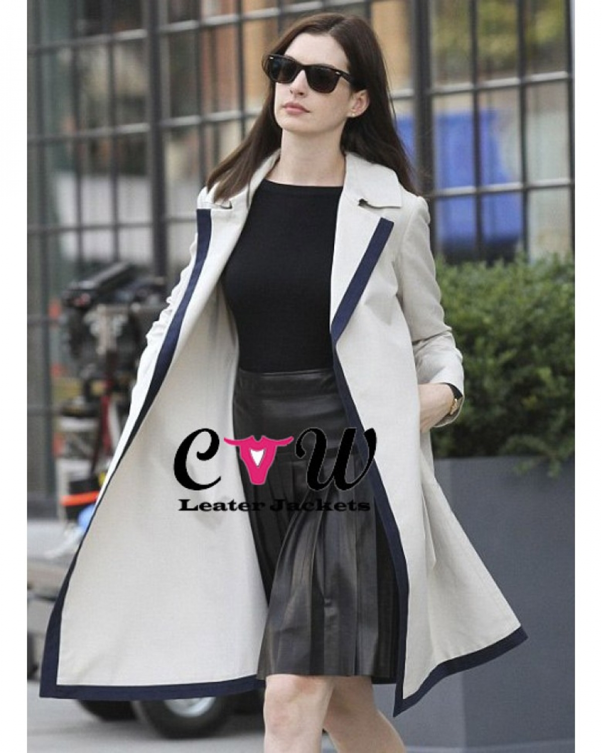 Anne Hathaway Real Name: The Intern Anne Hathaway Trench White Coat