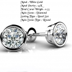 Details about  0.33ctw Diamond Stud Earrings in Solid 14k Real White Gold Screw Back